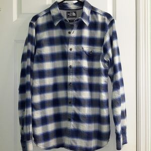 North Face Men's Plaid Flannel Blue White,Like New